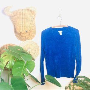vtg vsco velour cobalt blue crop sweater